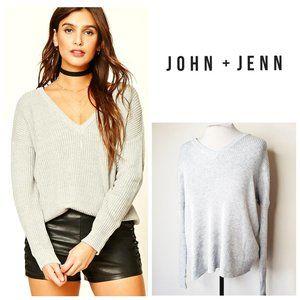 JOHN + JENN Ribbed V-Neck Grey Sweater